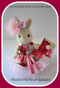 Sylvanian Clothes, Bespoke Dress set A With Hat For ADULT, Rabbit, Cat, Fox ETC