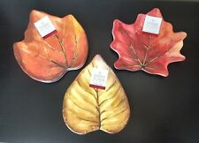 Sigrid Olsen Harvest Autumn Thanksgiving Leaf Side Appetizer Serving Plates 3pc