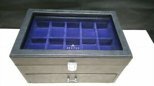 Black Genuine Leather Watch Collectors Box 20 Wrist watches by Aevitas