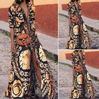 ZANZEA Women Low Cut Long Maxi Dress High Slit Floral Print Sundress Shirt Dress