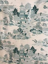 "P Kaufman Chintz TOILE Chinoiserie Upholstery Fabric Green Ecru 56"" 16+ Yards"