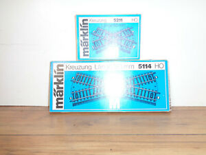 MARKLIN HO SCALE M TRACK CROSSINGS- ONE # 5211 AND ONE # 5114 BOXED CROSS TRACKS