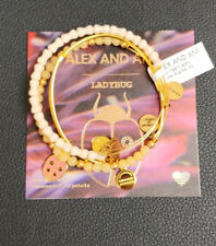 Charm Bangle New W/Tag Card & Box Alex and Ani lady bug set Shiny Gold