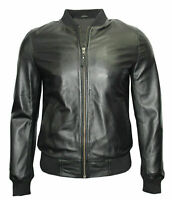 New 70'S Retro Bomber Men's Black Cool Classic Soft Spanish Nappa Leather Jacket