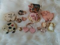 Lot Of 14 Pieces Ceramic Pig And Piglet Figurines Lou Rankin Farm Country decor