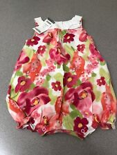 NWT Dress Up by Gymboree Lined Pink Green Floral Bubble Romper 12- 18 Months