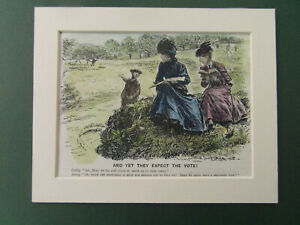 GOLF SUFFRAGETTE  PUNCH CARTOON HAND COLOURED DATED 1908 MOUNTED READY TO FRAME