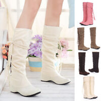 Women's Faux Suede Hidden Low Heel Mid-Calf Boots Casual Round Toe Slouch Boots