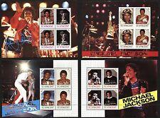4 Souvenir Sheets 16 Stamps ST.VINCENT Postage Michael JACKSON SPECIMEN MINT NH