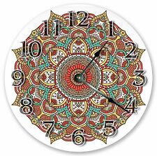 "10.5"" RED MANDALA DESIGN DECORATIVE CLOCK Large 10.5"" Wall Clock - 3329"