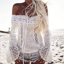 AU Womens Lace Crochet Off Shoulder Long Sleeve Casual Party Tops T-Shirt Blouse