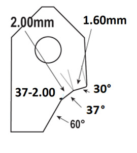 37°-2.00mm.Valve seat cutting carbide tip bit,SERDI NEWEN ROTTLER SUNNEN GOODSON