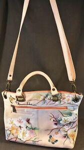 ANUSCHKA Hand Painted Genuine Leather Butterfly Theme Handbag Purse GENTLY USED