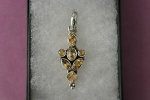 Beautiful 925 Silver Pendant With 7 Faceted Topaz  6.8 Gr. 4.5 x 1.6 Cm. Wide