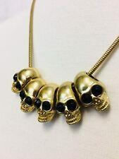 Vintage 90's Punk Goth Skulls Necklace. Black Glass Eyes. Solid Cast Metal. 3D.