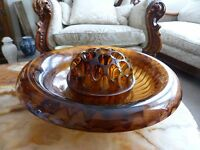 Art Deco DAVIDSON Brown Cloud Glass Bowl with Frog