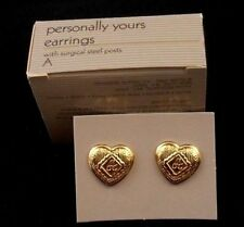 "LOVELY AVON PERSONALLY YOURS INITIAL ""A"" ENGRAVED ON GOLDTONE HEART NOS 1988"