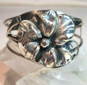 Large Vintage Sterling Silver Realistic Pansy Flower Cuff Bracelet