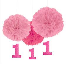 Girls First birthday, tissue paper pom poms, baby girl decor, 1 year old, cake s