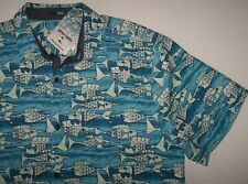 NWT Tommy Bahama BLUE FISH BAY Artist Series Silk Blend Camp Shirt Men 2XLB 2XB