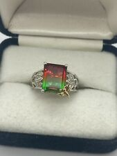 STS Sterling Silver 925 Watermelon Bi Color Tourmaline And Diamond Chip Ring 7.5