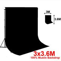 Studio 10 x 12 Ft Black Muslin Photo Backdrop Photography Background 100% cotton
