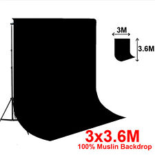 Studio 10 x 12 Ft Black Muslin Photo Backdrop Photography Background 100% cotton