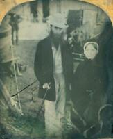 Sixth Plate Ambrotype of Stylish Man in All-White(?) & Woman by Boats on BEACH