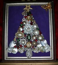 Vintage Jewelry Art Christmas Tree, Signed, & Framed