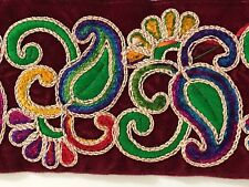 ATTRACTIVE INDIAN COLOURFUL THREAD PAISLEY LACE TRIM ON MAROON VALOUR - ONE MTR