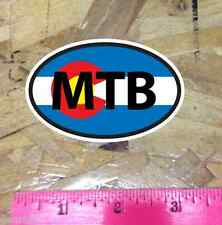 MTB Colorado Flag Mountain Bike CO oval sticker decal