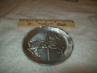 """SOUVENIR PLATE,COASTER,CAROUSEL HORSE WENDELL AUGUST FORGE,GROVE CITY,PA-4 1/4""""d"""