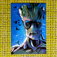 Groot original painting 1/1 signed sketch card