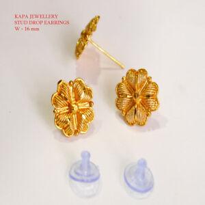 Kapa yellow  Gold Plated Earrings Indian Jewelry Hoop Creole Stud Earring E19
