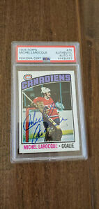 1976-77 TOPPS SIGNED AUTO CARD MICHEL BUNNY LAROCQUE CANADIENS # 79 PSA DNA 10