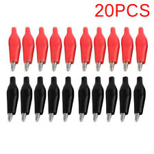 20pcs Black Red Soft Plastic Coated Testing Probe Alligator Clip Power Clip Sm