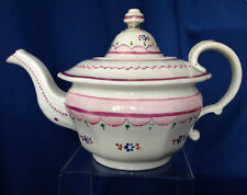 Antique Staffordshire pink luster teapot with blue flowers 1830s