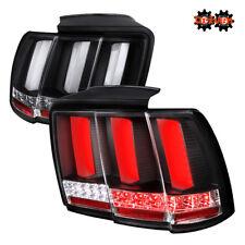 99-04 Ford Mustang GT Base V6 V8 Sequential LED Frost Tube Tail Lights Black