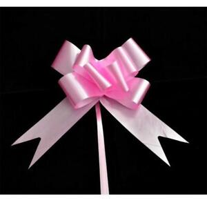 60 Pink Pull Bows 30mm Wedding Car Xmas Gift Wrap Ribbon Florist Pew Decorations