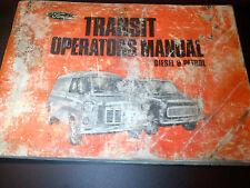 Ford Transit Mark 1 Diesel & Petrol Operators Manual Drivers Handbook Guide