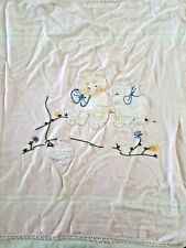 Vintage Pink Flannel Embroidered Cat Pup Duck Baby Doll Crib Blanket 29 x 32