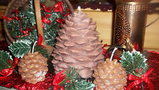 LARGE HIGHLY SCENTED AND DETAILED PINECONE PILLAR CANDLE w 2 PINECONE VOTIVES