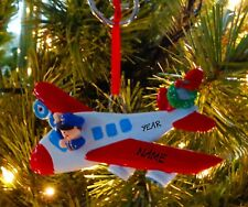 Jet Plane Airplane Pilot First Personalized Christmas Tree Ornament