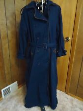 Womens 12 Tall Spiegel Navy w Brown Piping & Trim Double-Breasted Trench Coat