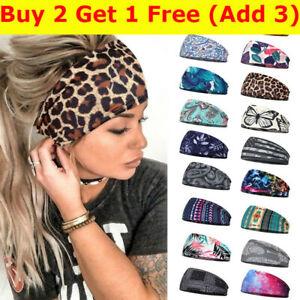 Women Wide Elastic Hair Bands Turban Head Wraps Boho Sports Yoga HeadBands