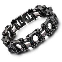 "14/19/23MM Mens Chain Black 316L Stainless Steel Biker Motorcycle Bracelet 7-11"""