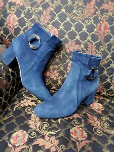 Karl Lagerfeld Cossette Womens Blue Suede Ankle Boots Size 9M US , 40 EUR