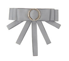 Grey Rhinestone Ring Ornamental Needle Ella Jonte Brooch Bow Grey Light