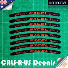 8 Takasago EXCEL Rim Motorcycle Sticker Decal Dirt Bike Wheel Reflective Orange