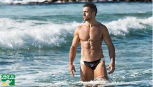 AUSSIEBUM MENS Surge Nylon Briefs Trunks Size L 18 85 - 90cm Black & White NEW